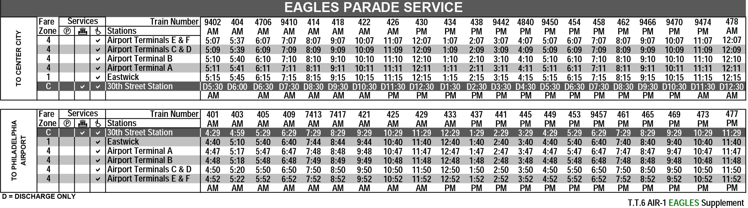 Eagles Parade Airport Line Timetable