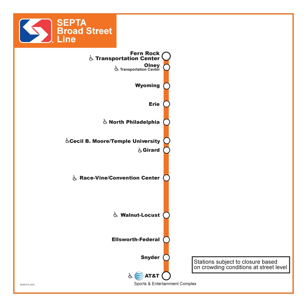 Broad Street Line Eagles Parade Service Map