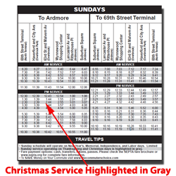 The Routes Listed Below Are Scheduled To Operate Christmas Day On A Reduced Sunday Schedule These Reduced Trips Are Highlighted In Gray In The Sunday