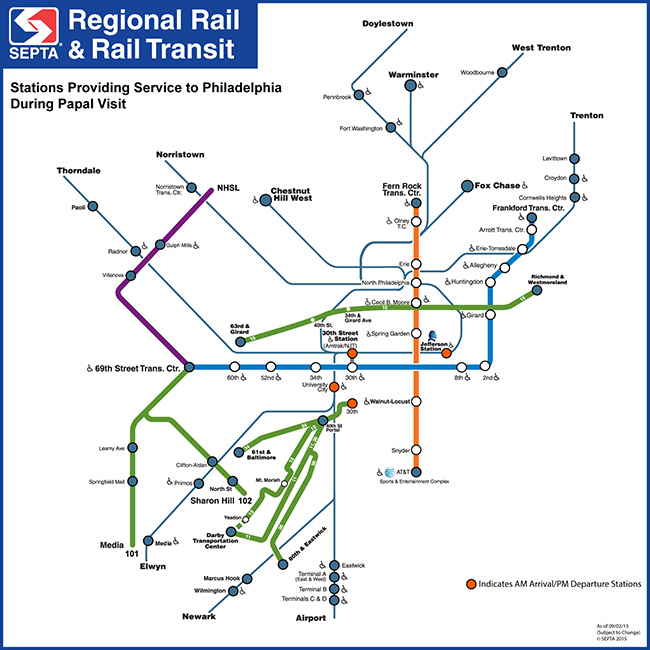 SEPTA Papal Visit Service MAPS - Check off map