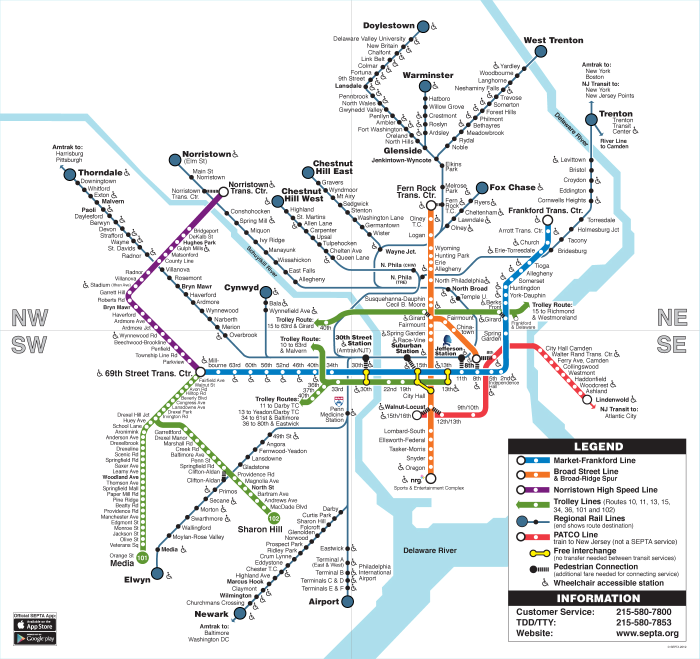 philadelphia train station map Septa Clickable Regional Rail Rail Transit Map philadelphia train station map