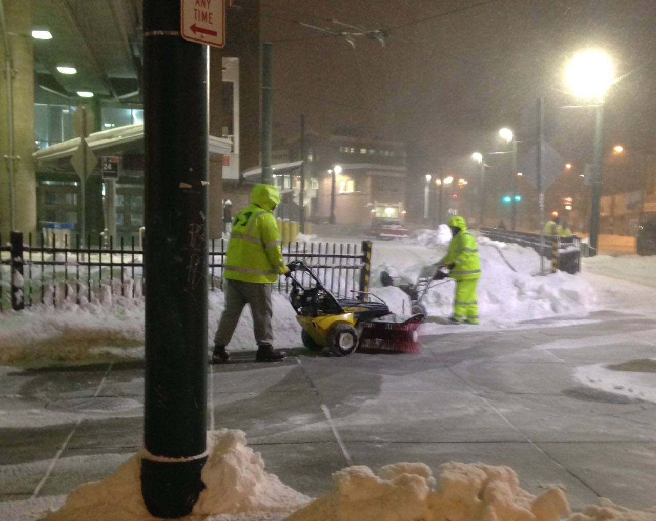 Snow clearing at Frankford Transportation Center