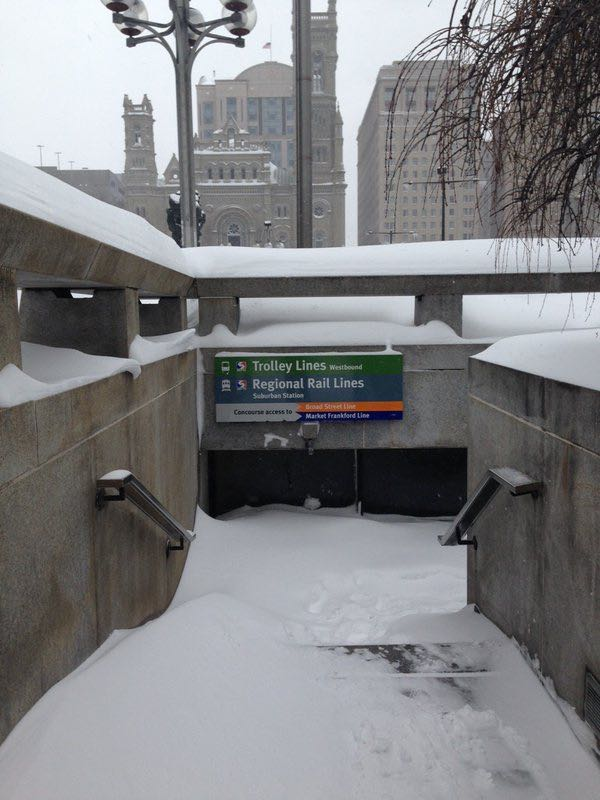 Snow at City Hall Station. Click to enlarge
