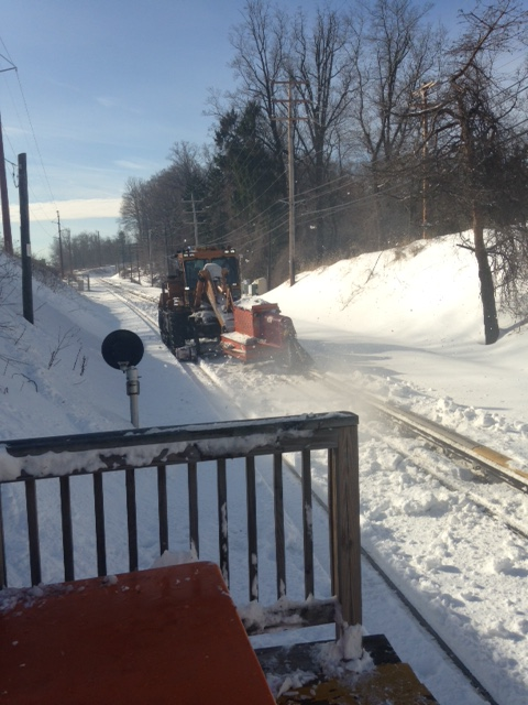 Snow clearing near County Line Station on the Norristown High Speed Line Monday, January 25, 2016..