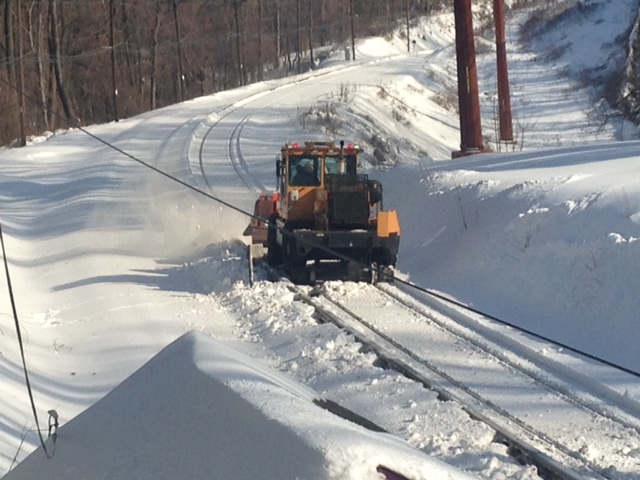 """The Jet"" works to clear snow from the rails along a section of the Norristown High Speed Line near County Line Station Monday, January 25, 2016."