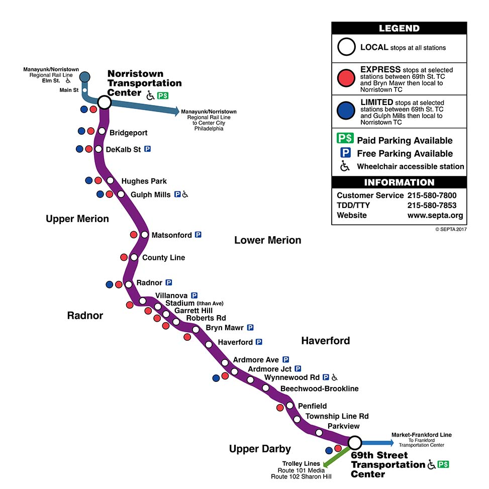 Norristown High Speed Line Map